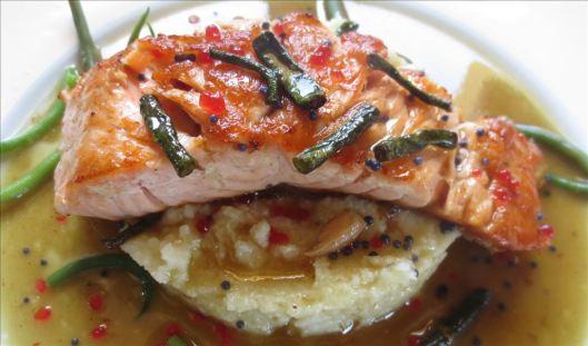 Salmon, White Polenta, Saffron Sauce